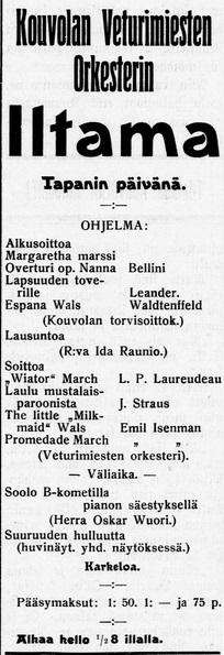 kouvolansoittokunta_22.12.1909 Kouvolan Sanomat no 000
